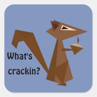 Pegatina Cuadrada ¿Ardilla de Brown cuál es Crackin?