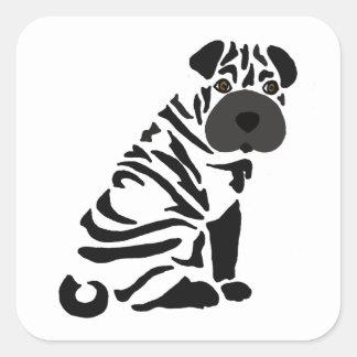 Pegatina Cuadrada Arte abstracto del perro negro divertido de Shar
