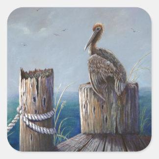 Pegatina Cuadrada Arte de acrílico del océano del pelícano de Brown