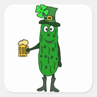 Pegatina Cuadrada Arte del día de St Patrick divertido de la