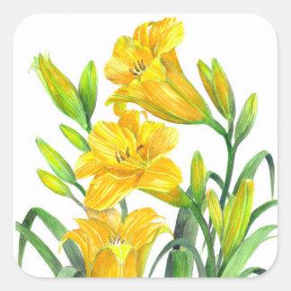 Pegatina Cuadrada Arte floral amarillo de los lirios de día de la