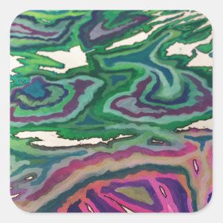 Pegatina Cuadrada Arte topográfico II del papel seda