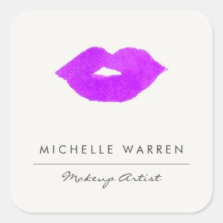 Pegatina Cuadrada Artista de maquillaje púrpura intrépido de la