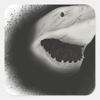 Pegatina Cuadrada Ataque entintado del tiburón