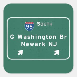 Pegatina Cuadrada Autopista I-95 Newark NJ del puente de George