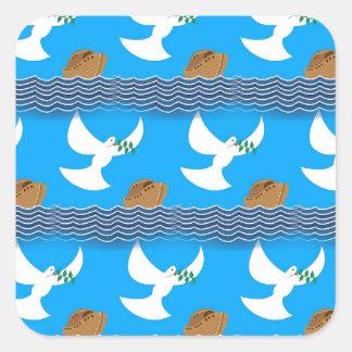 Pegatina Cuadrada Azul abstracto de la paloma y de la tierra del