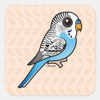 Pegatina Cuadrada Azul de Birdorable Budgie