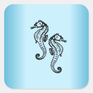 Pegatina Cuadrada Azul del Seahorse