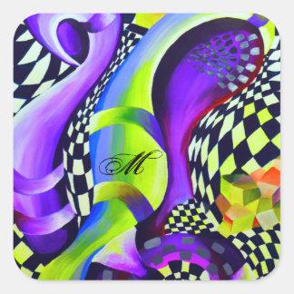 Pegatina Cuadrada Azul eléctrico abstracto retro y verde del