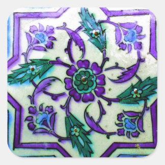 Pegatina Cuadrada Azul y blanco con indirectas de la teja púrpura de