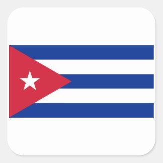 Pegatina Cuadrada ¡Bajo costo! Bandera de Cuba