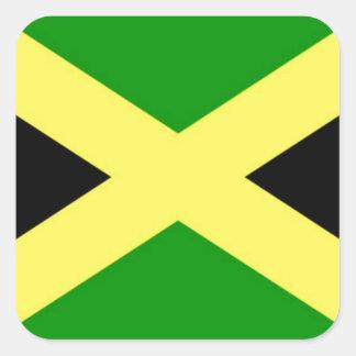 Pegatina Cuadrada ¡Bajo costo! Bandera de Jamaica