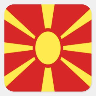 Pegatina Cuadrada ¡Bajo costo! Bandera de Macedonia