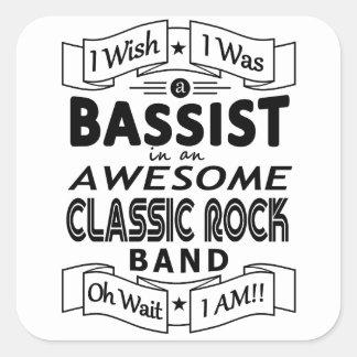 Pegatina Cuadrada Banda de rock clásica impresionante del BAJISTA