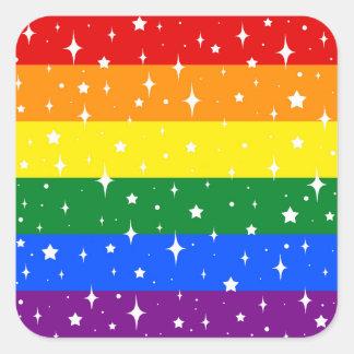Pegatina Cuadrada Bandera brillante del arco iris
