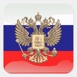 Pegatina Cuadrada Bandera brillante rusa