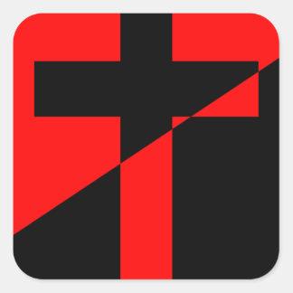 Pegatina Cuadrada Bandera cristiana del cristianismo de la anarquía