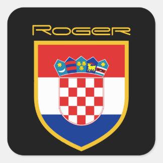 Pegatina Cuadrada Bandera de Croacia personalizada