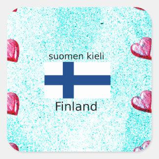 Pegatina Cuadrada Bandera de Finlandia y diseño finlandés de la