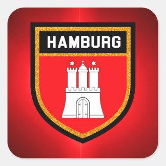 Pegatina Cuadrada Bandera de Hamburgo