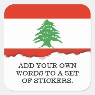 Pegatina Cuadrada Bandera de Líbano