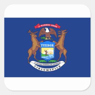 Pegatina Cuadrada Bandera de Michigan