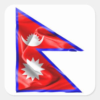 Pegatina Cuadrada Bandera de Nepal