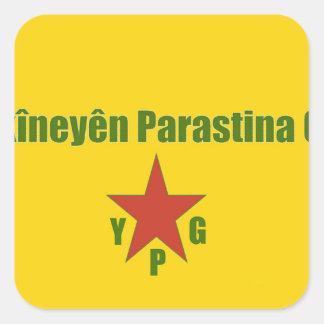 Pegatina Cuadrada Bandera de YPG