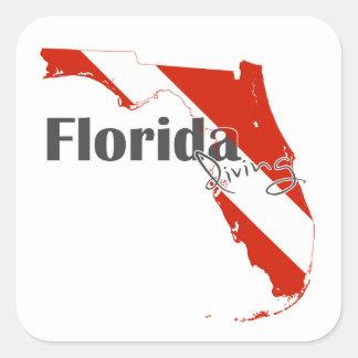 Pegatina Cuadrada Bandera del buceo con escafandra de la Florida