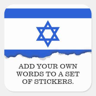 Pegatina Cuadrada Bandera del israelí