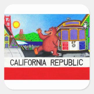 Pegatina Cuadrada Bandera del oso de San Francisco California