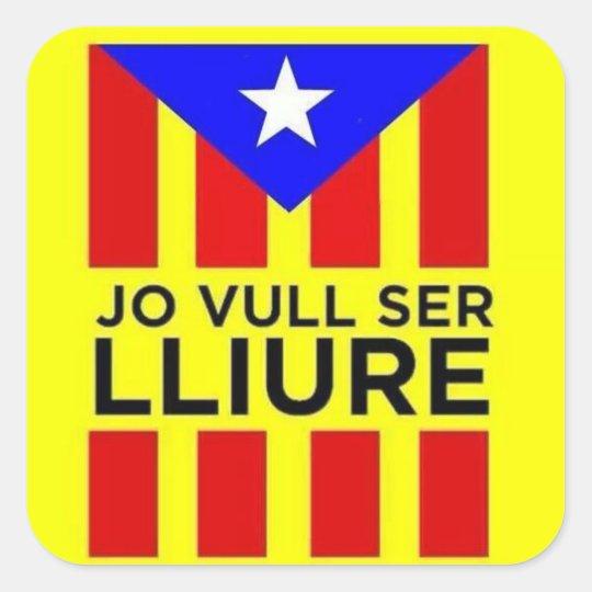 Pegatina Cuadrada Bandera Estelada Catalana