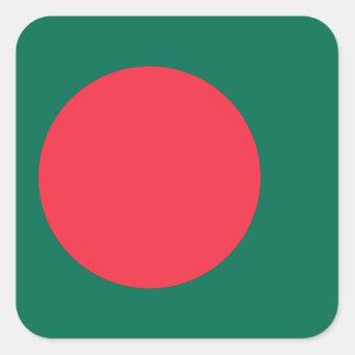 Pegatina Cuadrada Bandera nacional del mundo de Bangladesh