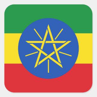 Pegatina Cuadrada Bandera nacional del mundo de Etiopía