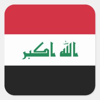 Pegatina Cuadrada Bandera nacional del mundo de Iraq