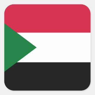 Pegatina Cuadrada Bandera nacional del mundo de Sudán