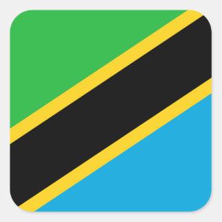Pegatina Cuadrada Bandera nacional del mundo de Tanzania