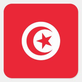 Pegatina Cuadrada Bandera nacional del mundo de Túnez