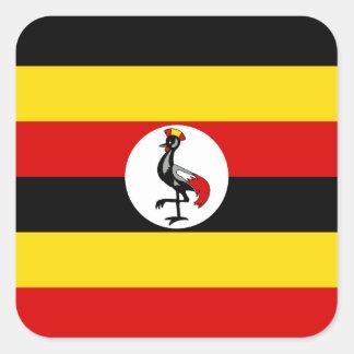 Pegatina Cuadrada Bandera nacional del mundo de Uganda