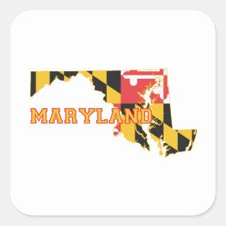 Pegatina Cuadrada Bandera y mapa del estado de Maryland