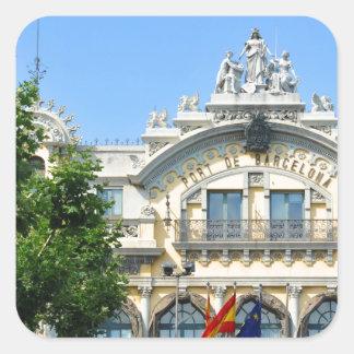 Pegatina Cuadrada Barcelona, España