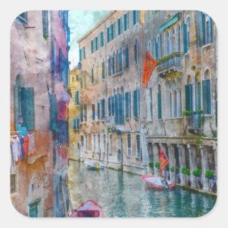 Pegatina Cuadrada Barcos de Venecia Italia en el Gran Canal