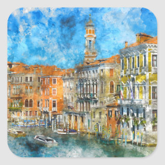 Pegatina Cuadrada Barcos en el Gran Canal de Venecia Italia