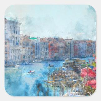 Pegatina Cuadrada Barcos en el Gran Canal en Venecia Italia