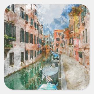 Pegatina Cuadrada Barcos en los canales de Venecia Italia