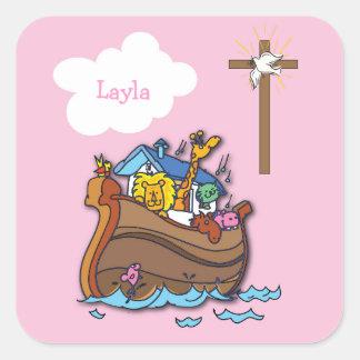 Pegatina Cuadrada Bautismo de la arca de Noah adaptable, rosa del
