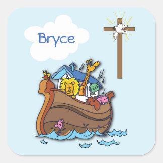 Pegatina Cuadrada Bautismo del bebé de la arca de Noah adaptable,