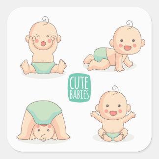 Pegatina Cuadrada Bebés lindos