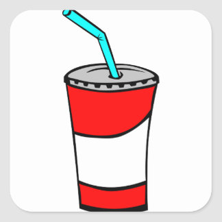 Pegatina Cuadrada Bebida de los alimentos de preparación rápida