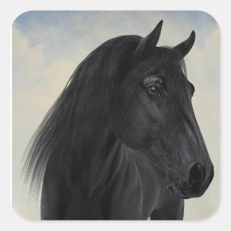 Pegatina Cuadrada Belleza negra - retrato frisio negro del caballo